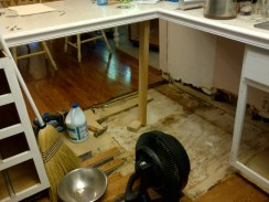 Two cabinets removed. Subfloor removed. Hardwood pulled back to find damage. Fan for drying.
